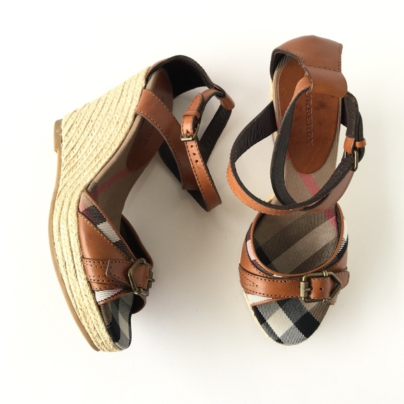 a7d3d2a3866 Burberry Brown Leather Espadrille Buckle Wedges